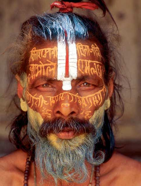 Sadhu with tilaka and mantras